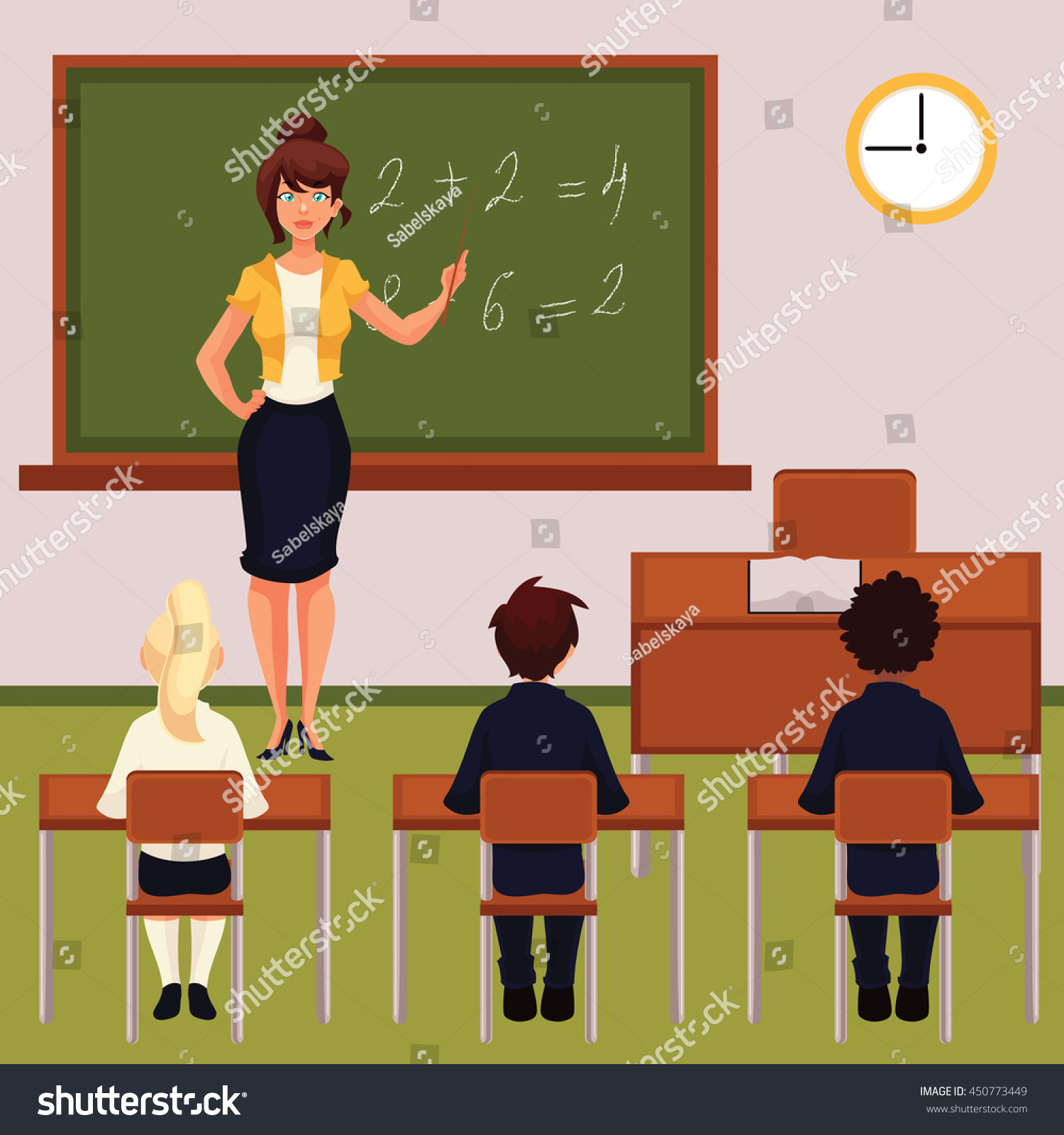 teacher pupils classroom cartoon vector illustration stock