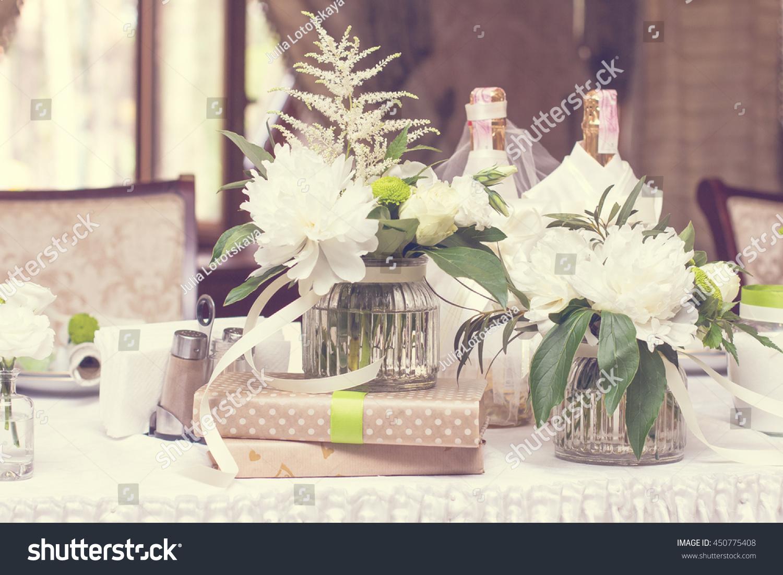 Bouquet White Flowers Wedding Table Decor Stock Photo Edit Now