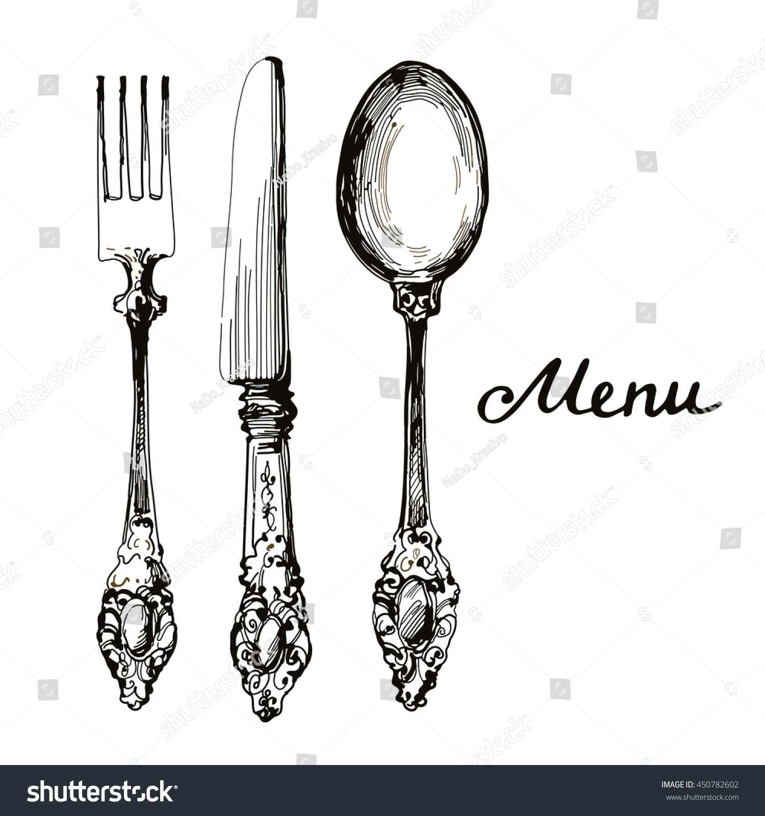 kitchen stuff silverware knife fork spoon stock vector 450782602