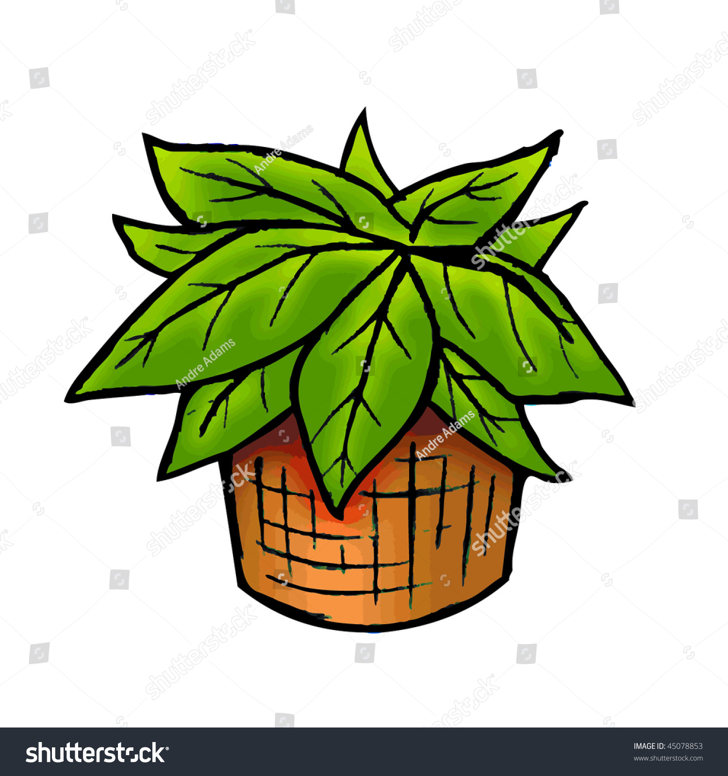 Cartoon Vector Illustration Potted Plant