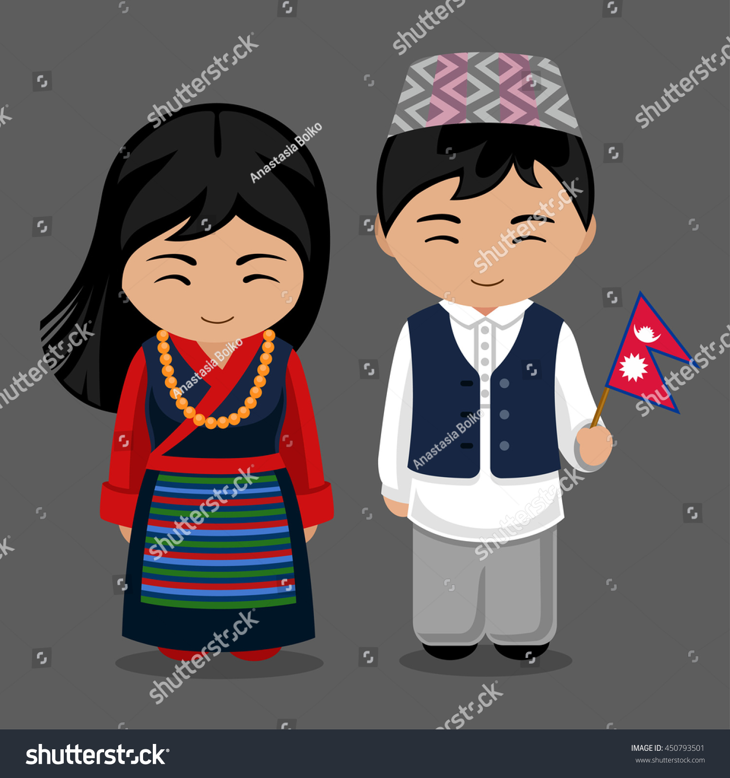 Welcome World League Of Beauty And Fashion Official Web: Nepalese National Dress Flag Man Woman Stock Vector