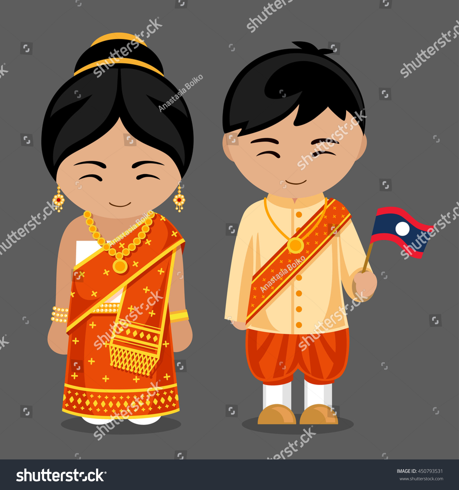 Welcome World League Of Beauty And Fashion Official Web: Laotians National Dress Flag Man Woman Stock Vector