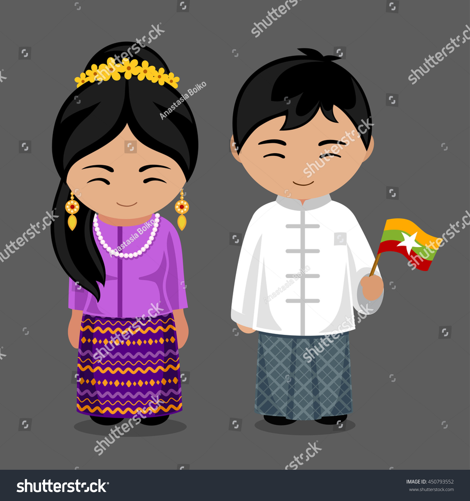 Welcome World League Of Beauty And Fashion Official Web: Burmese National Dress Flag Man Woman Stock Vector