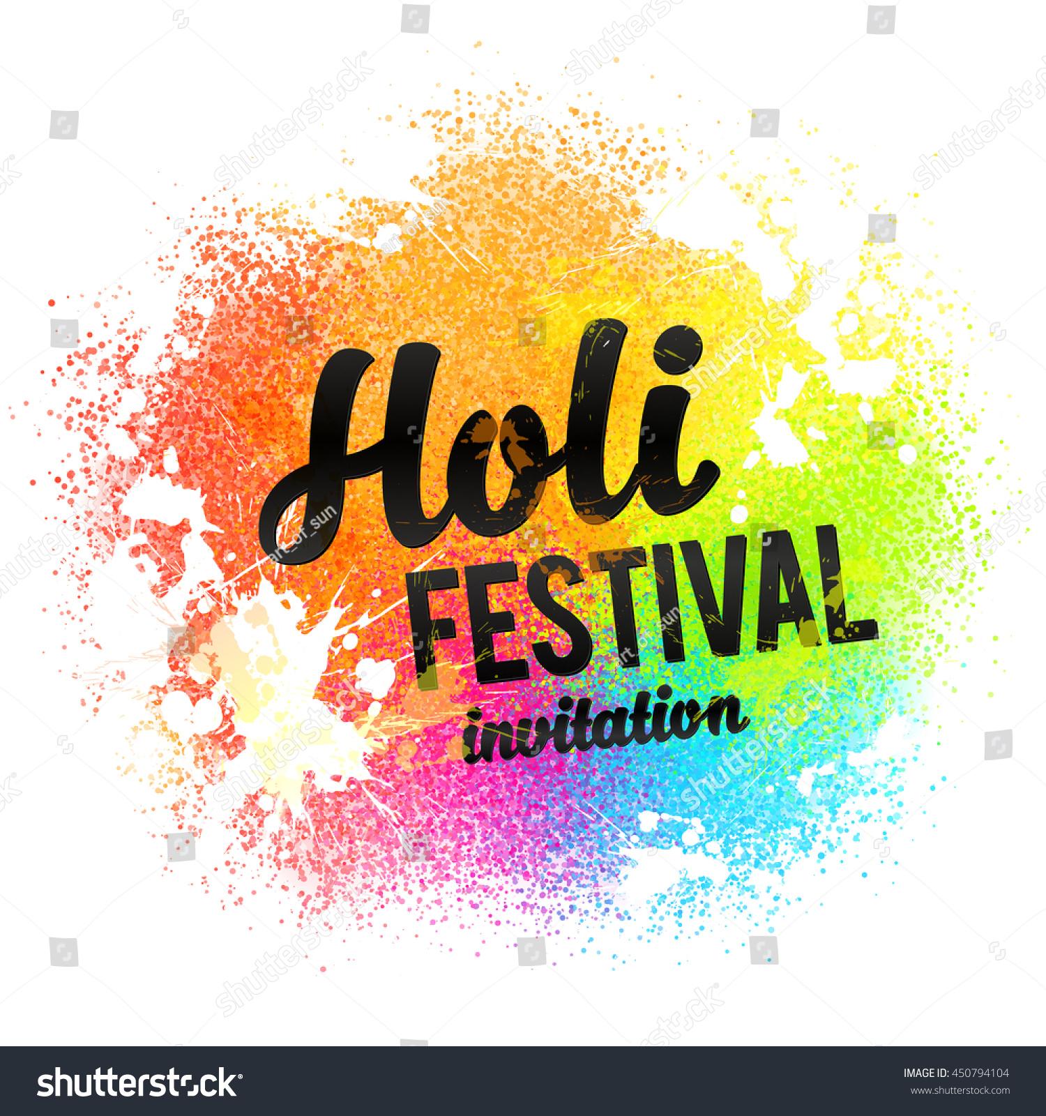 Holi Festival Invitation Black Sign On Stock Illustration 450794104 ...