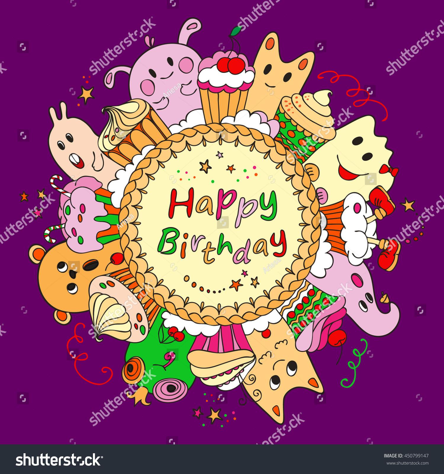 Happy Birthday Greeting Card On Purple Stock Vector
