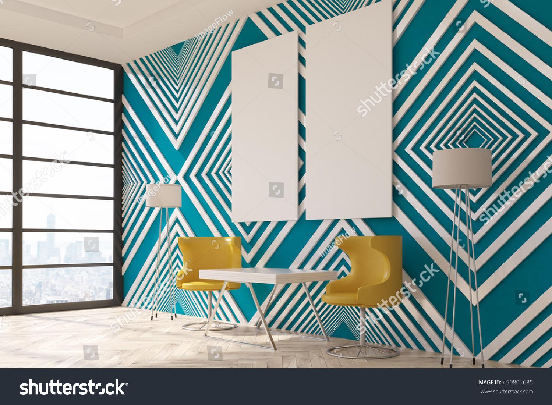 Modern Interior Striped Blue Pattern Wallpaper 450801685
