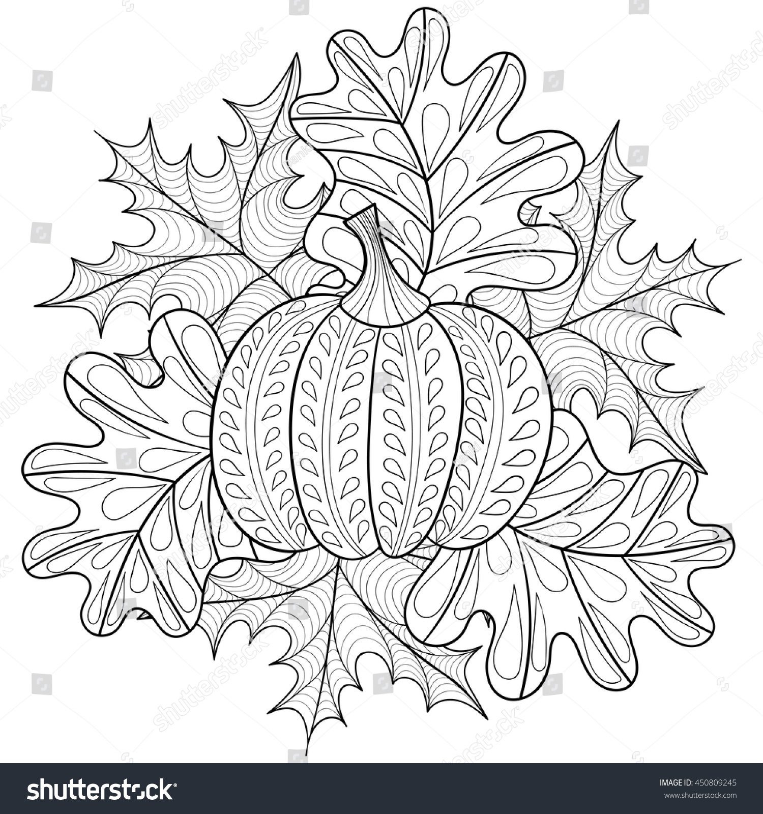 pumpkin and leaves coloring pages - photo#29
