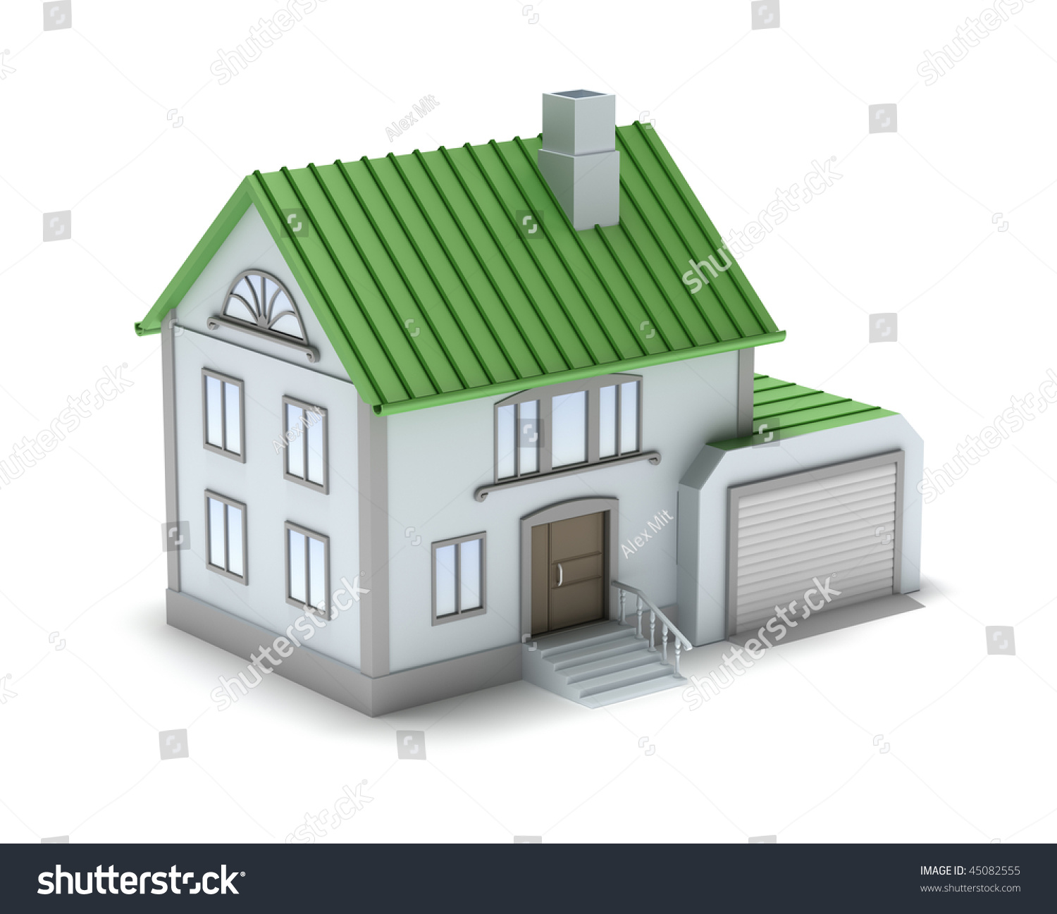 Small Family House 3d Image Isolated On White Stock