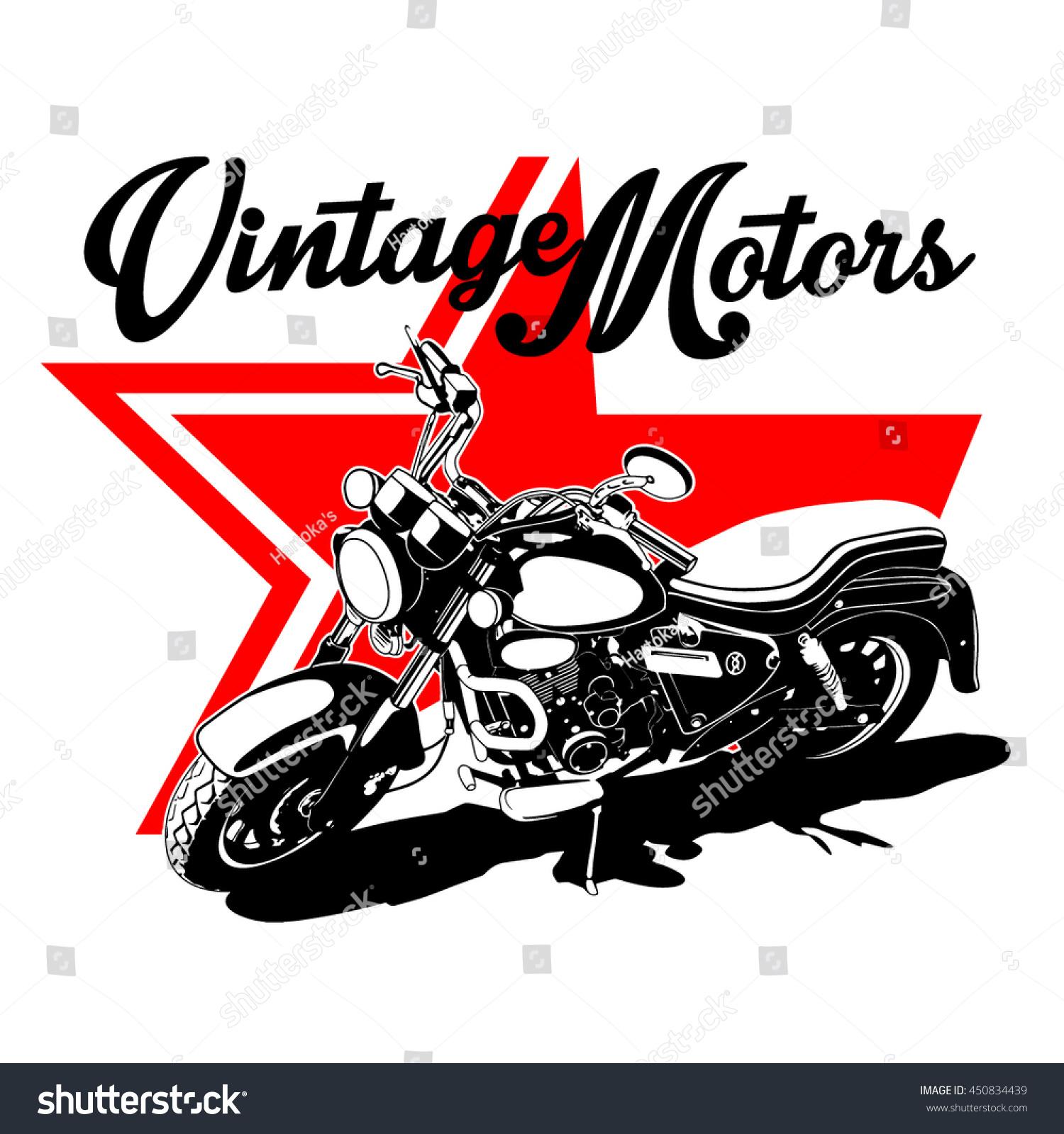 Vintage Motors Vector Tshirt Designretro Print Stock
