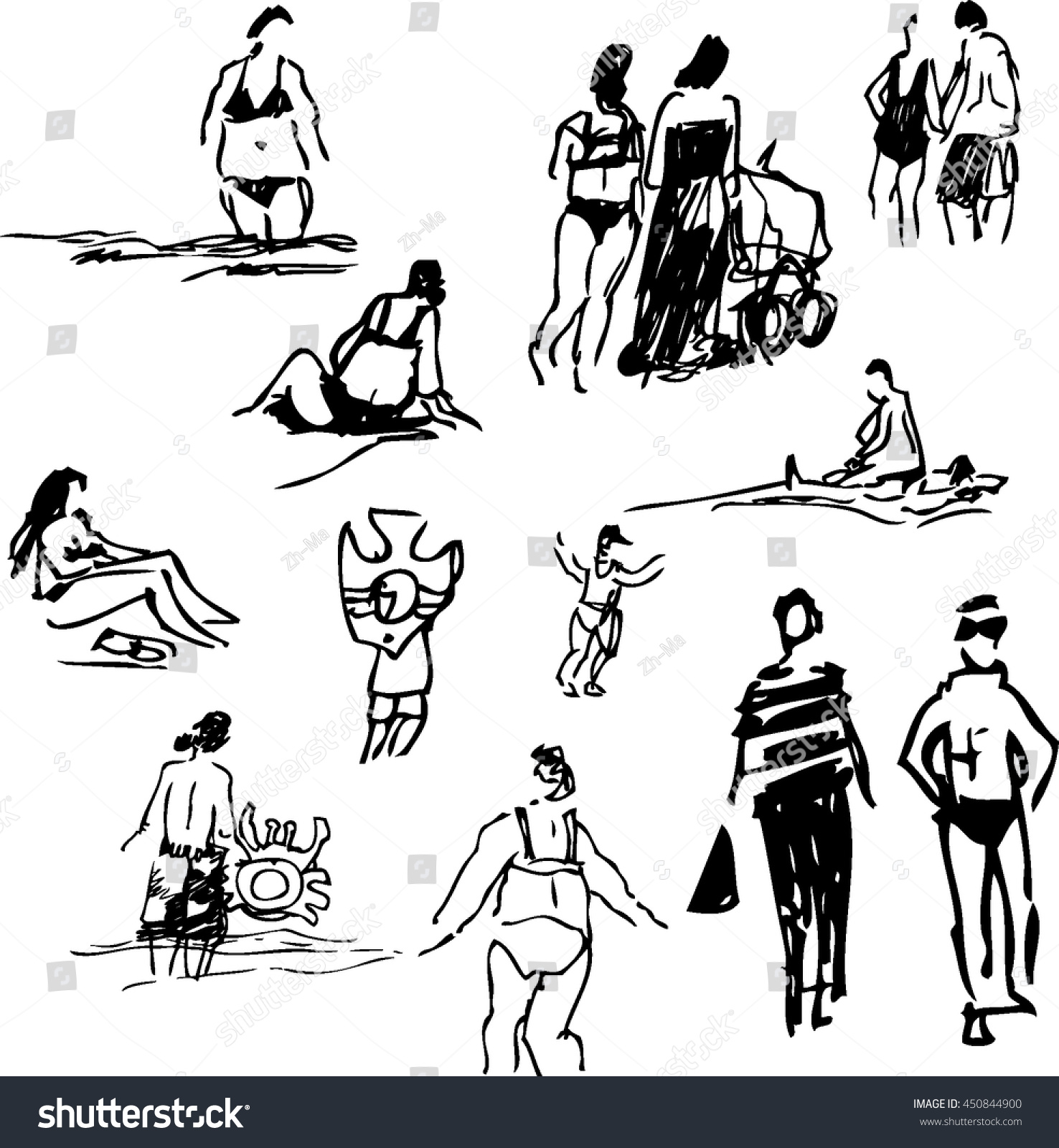 People On The Beach Vector Hand Drawn Black And White Illustration Isolated Sketches
