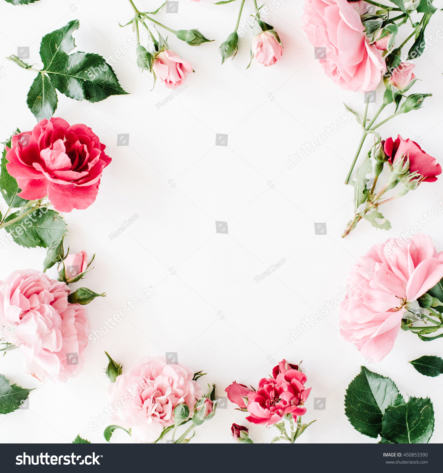 Round Frame Wreath Pattern With Roses Pink Flower Buds Branches