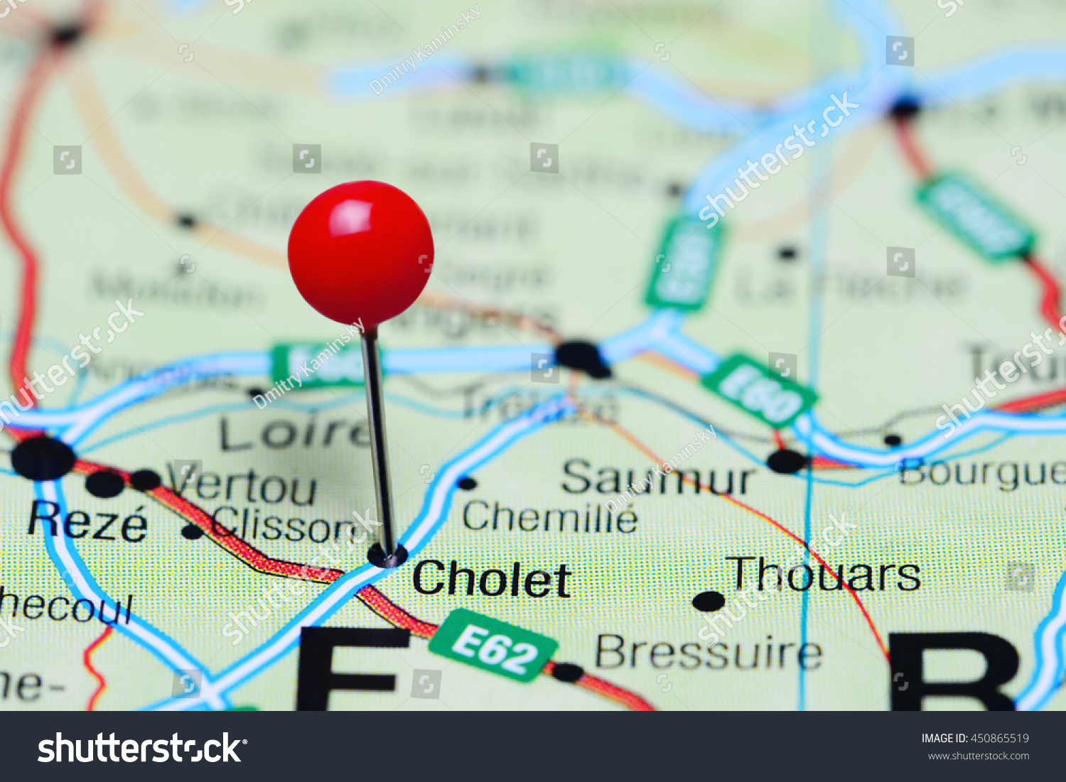 Cholet Pinned On Map France Stock Photo 450865519 Shutterstock
