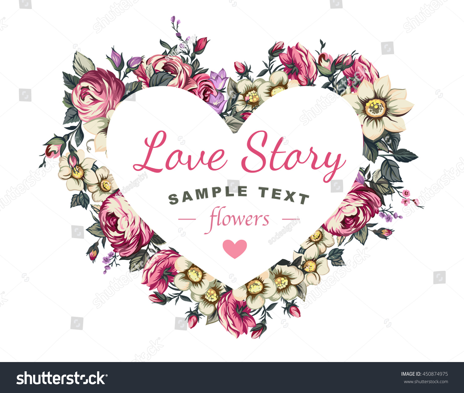 Heart flowers gift your loved stock vector 450874975 shutterstock heart and flowers gift for your loved negle Choice Image