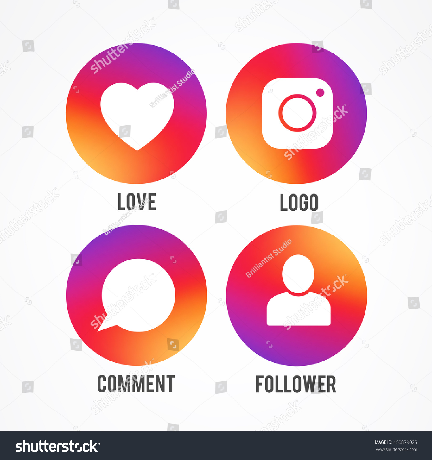 Vector Illustration Instagram: Smooth Color Gradient Icon Template Set Inspried By