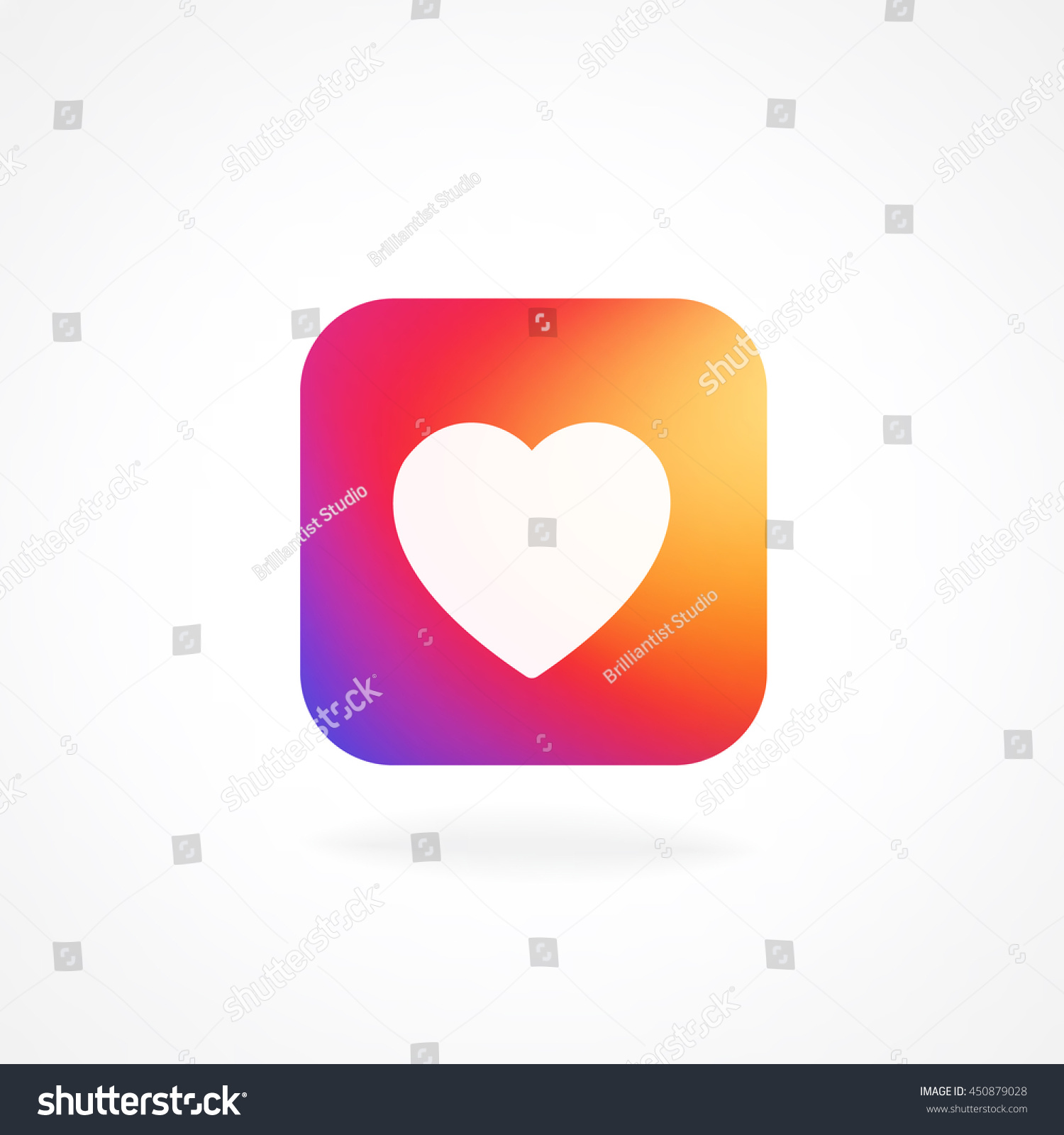 heart symbol app icon smooth color stock vector 450879028