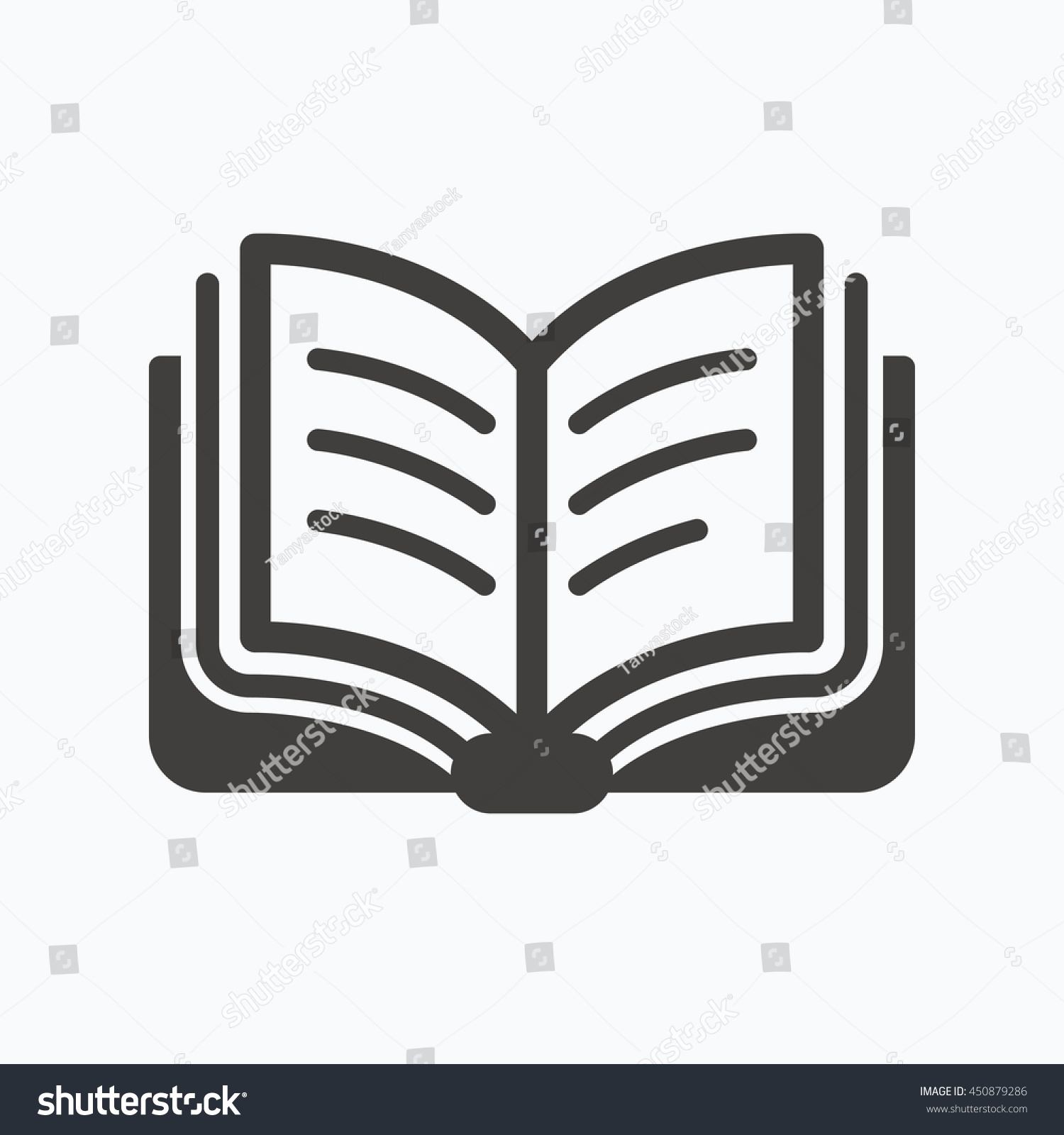 book icon study literature sign education stock vector  study literature sign education textbook symbol gray flat web icon on