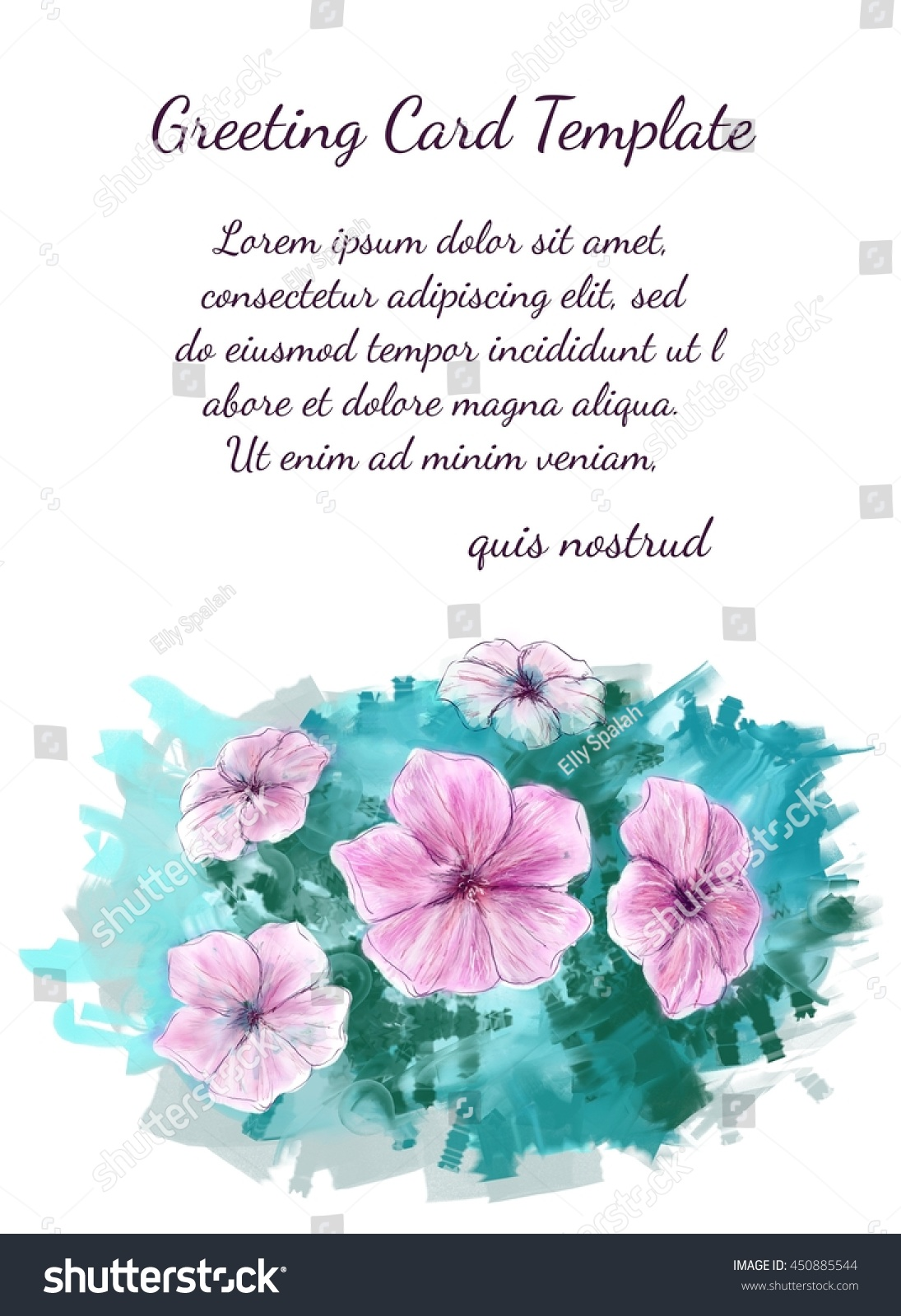 greeting card template hand drawn five petal stock illustration