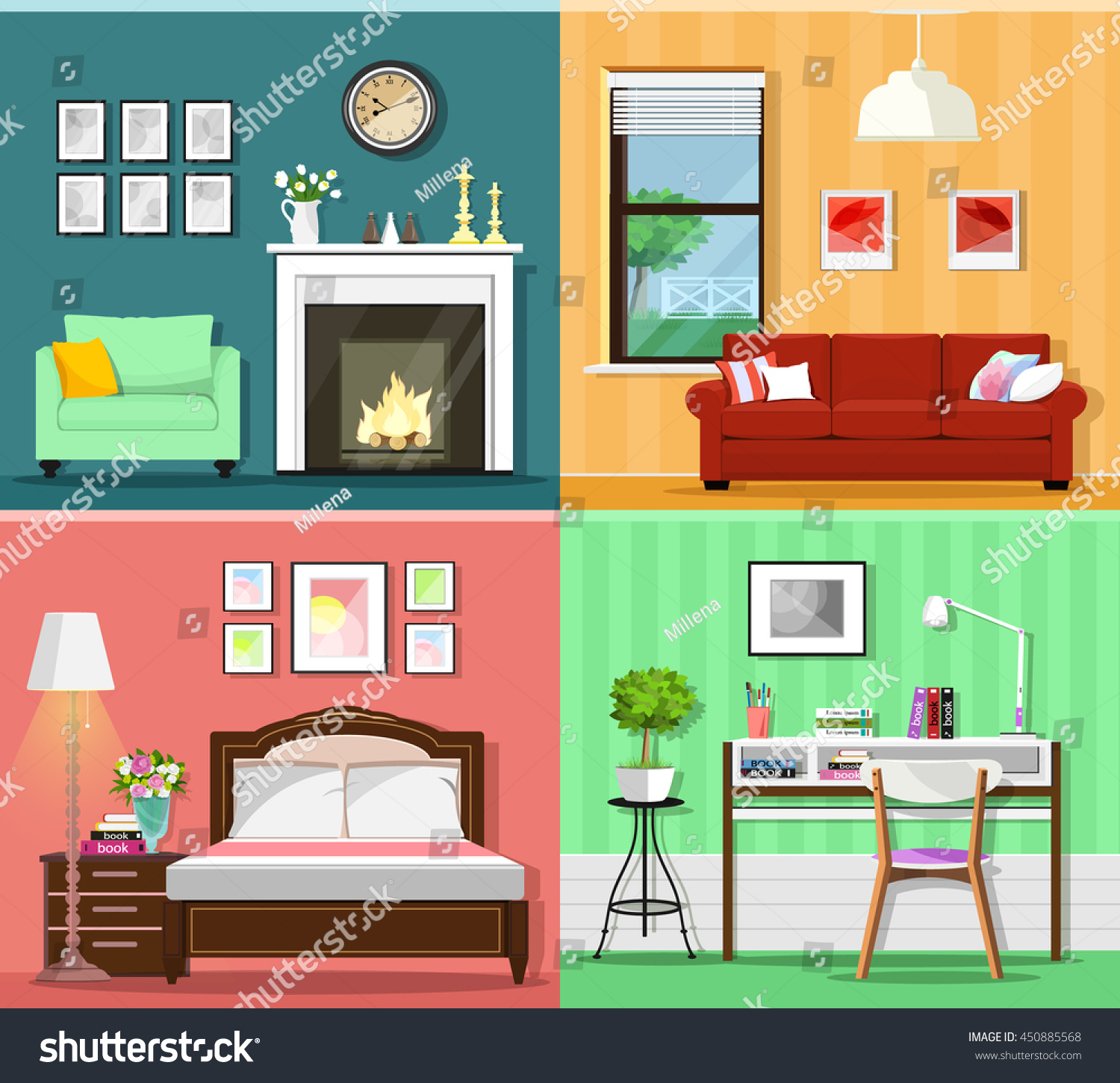 Furniture Ideas For Living Room Stock Vector: Set Colorful Graphic Room Interiors Furniture Stock Vector
