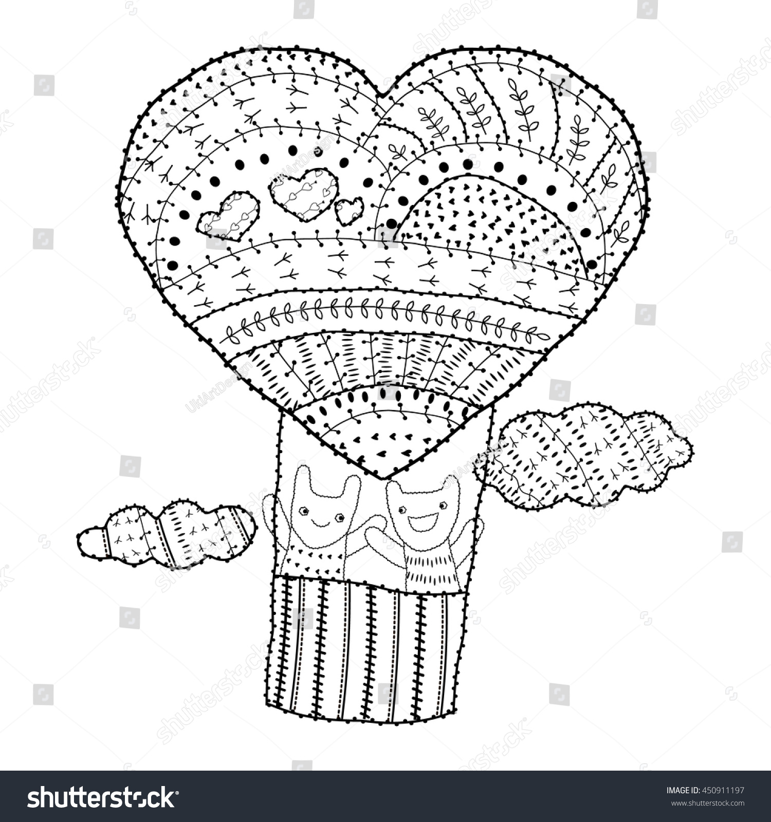 Adult Coloring Page Heartshaped Hot Air Stock Vector 450911197 ...