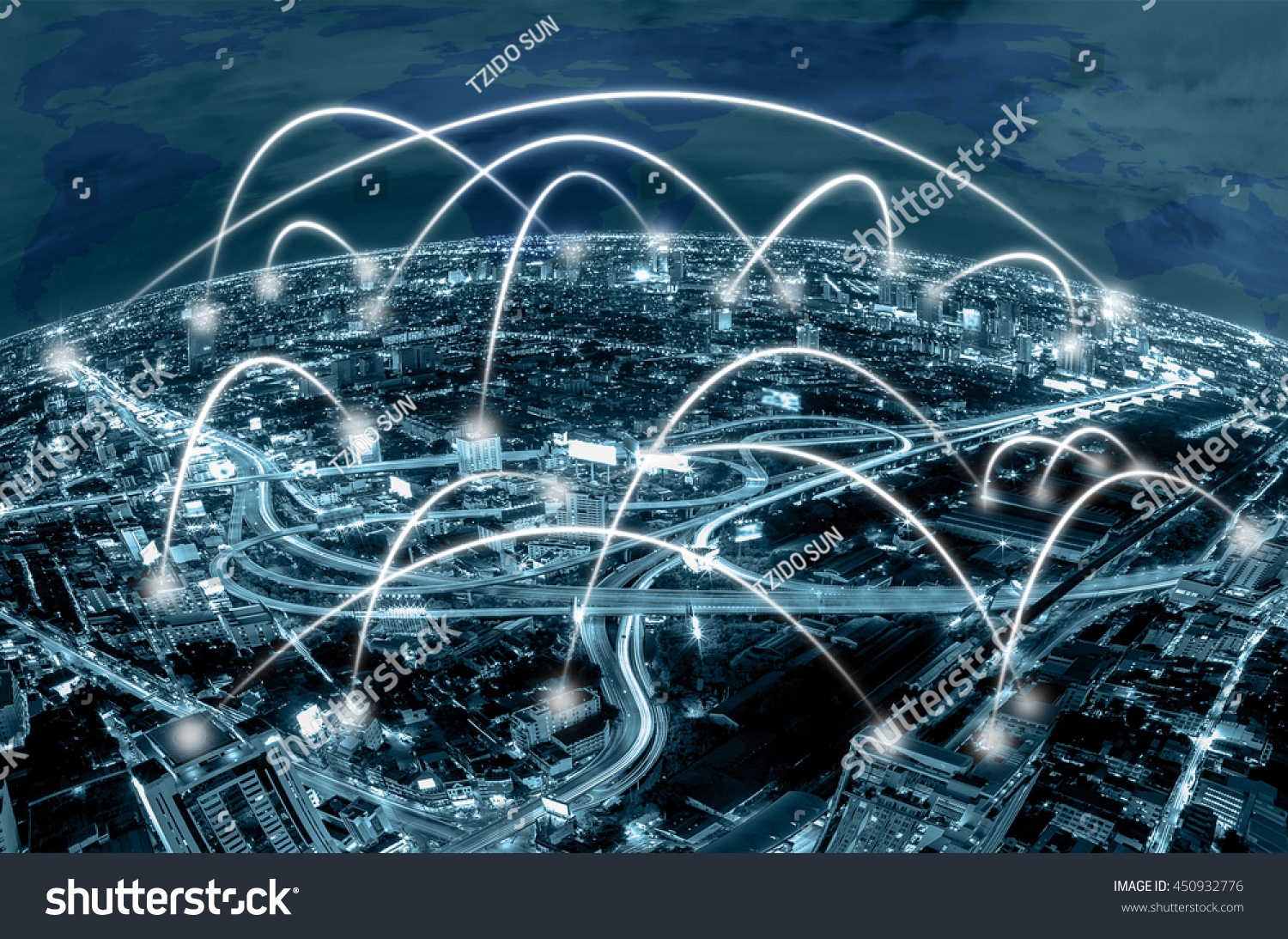 Network connection line between building over stock photo royalty network connection line between building over the top view of cityscape background and world map background gumiabroncs Choice Image