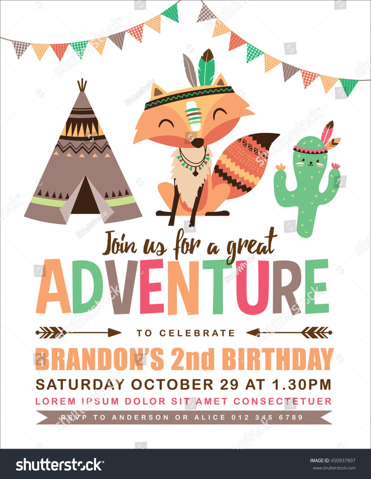 Kids Birthday Invitation Card Cute Cartoon Stock Vector