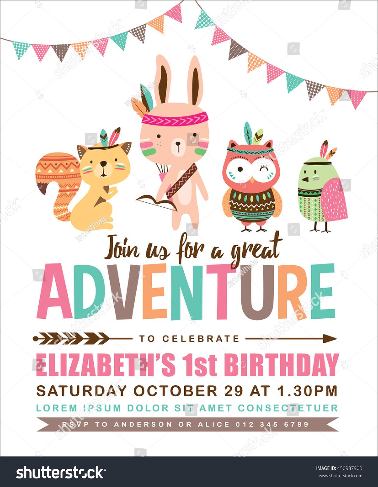 Kids Birthday Invitation Card Cute Cartoon Stock Vector (Royalty ...