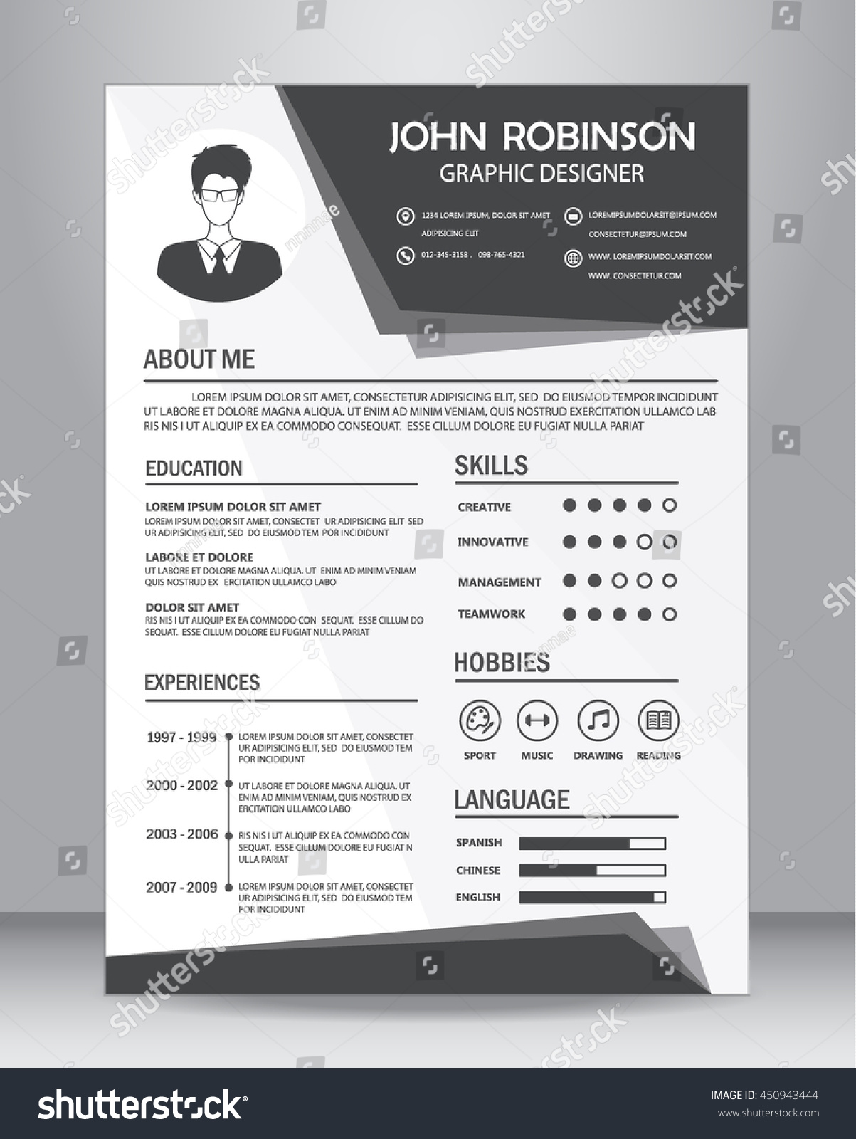 job resume or cv template layout template in a size vector job resume or cv template layout template in a4 size vector illustration