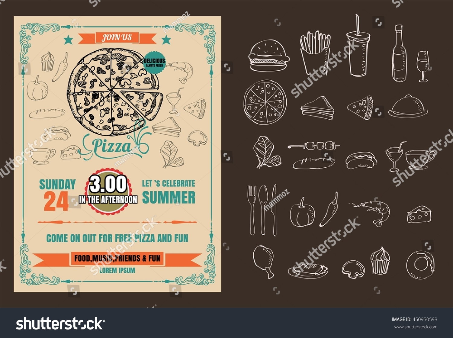 Vintage Vector Pizza Party Flyer Invitation Template Design 450950593