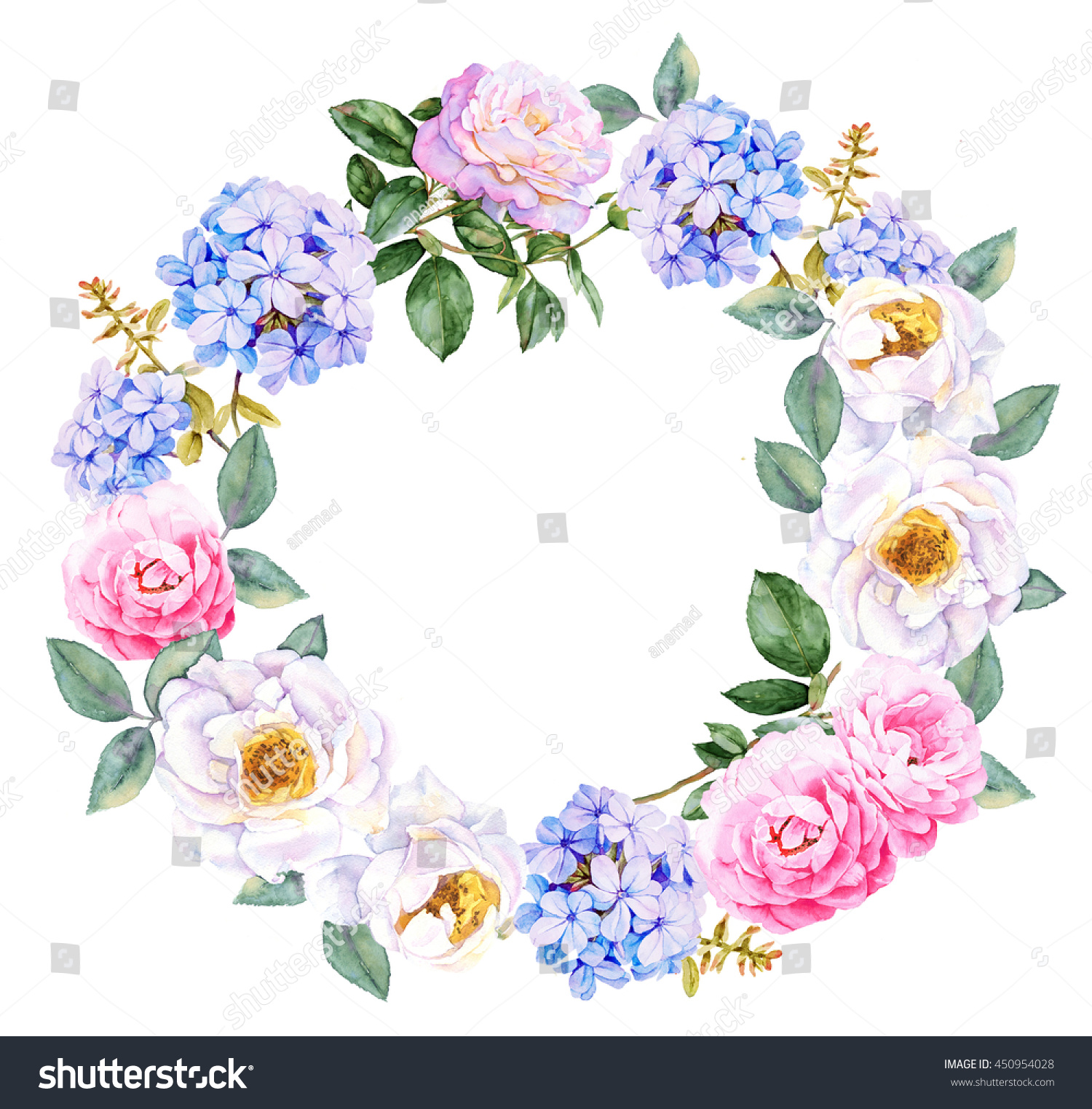 Watercolor Flowers Wreath Roses Blue Jasmine Stock Illustration