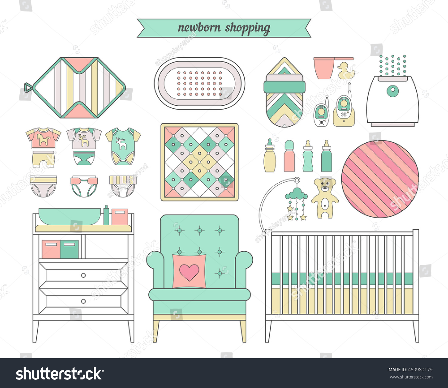 862830c95 Newborn Essentials Shopping List Vector Baby Stock Vector (Royalty ...