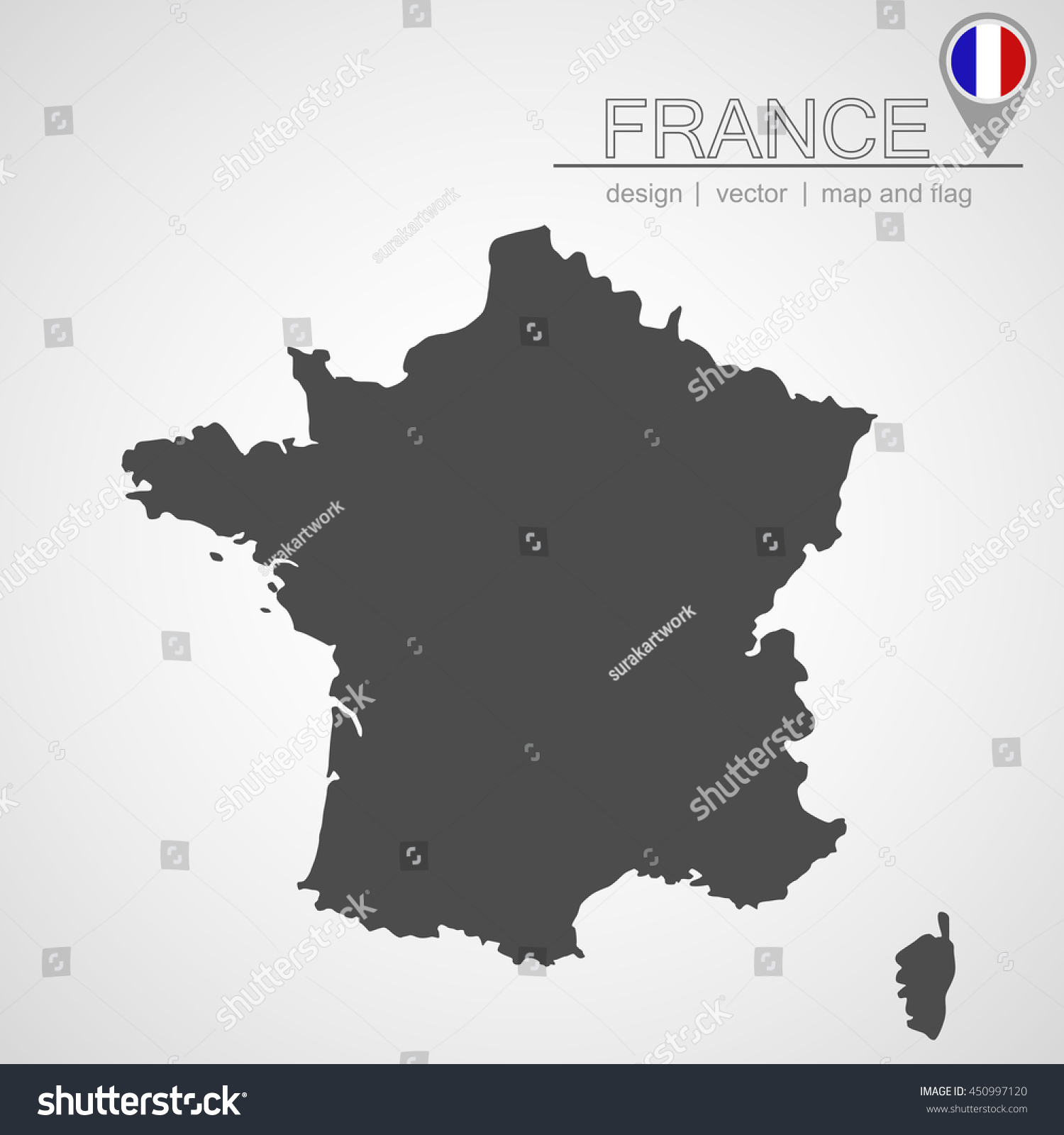 France Map Location France Flag Application Stock Vector (Royalty ...