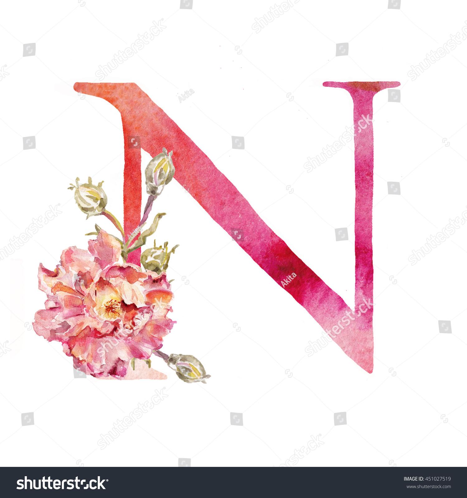 Watercolor Alphabet Painted Letters Font Letter Stock Illustration ...