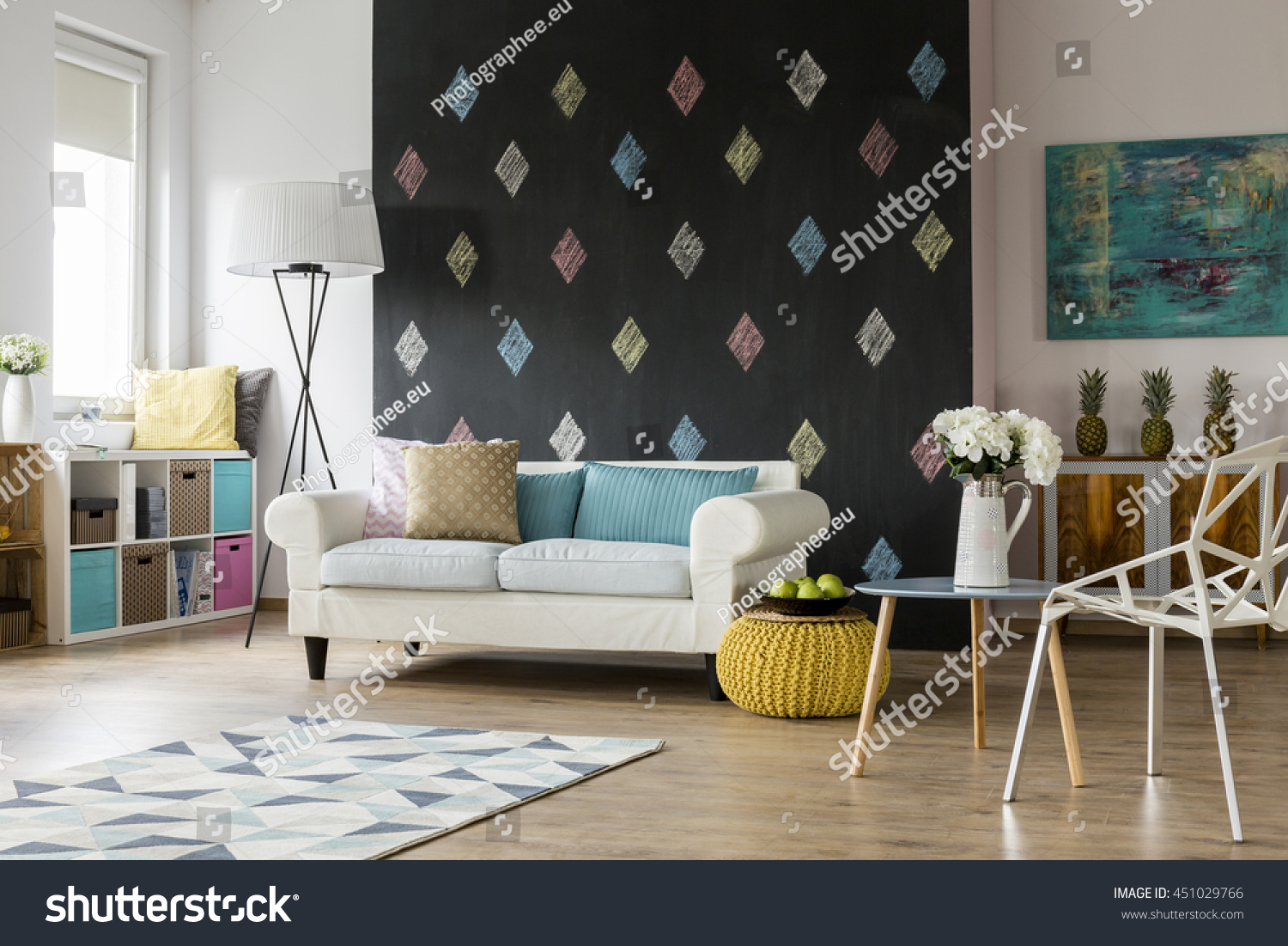 Spacious living room double sofa crystal stock photo for Double chairs for living room