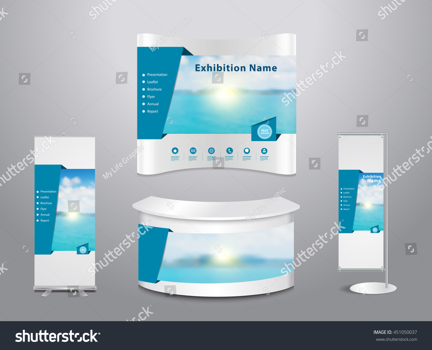 Exhibition Stand Layout Design : Set trade exhibition stand cover presentation stock vector