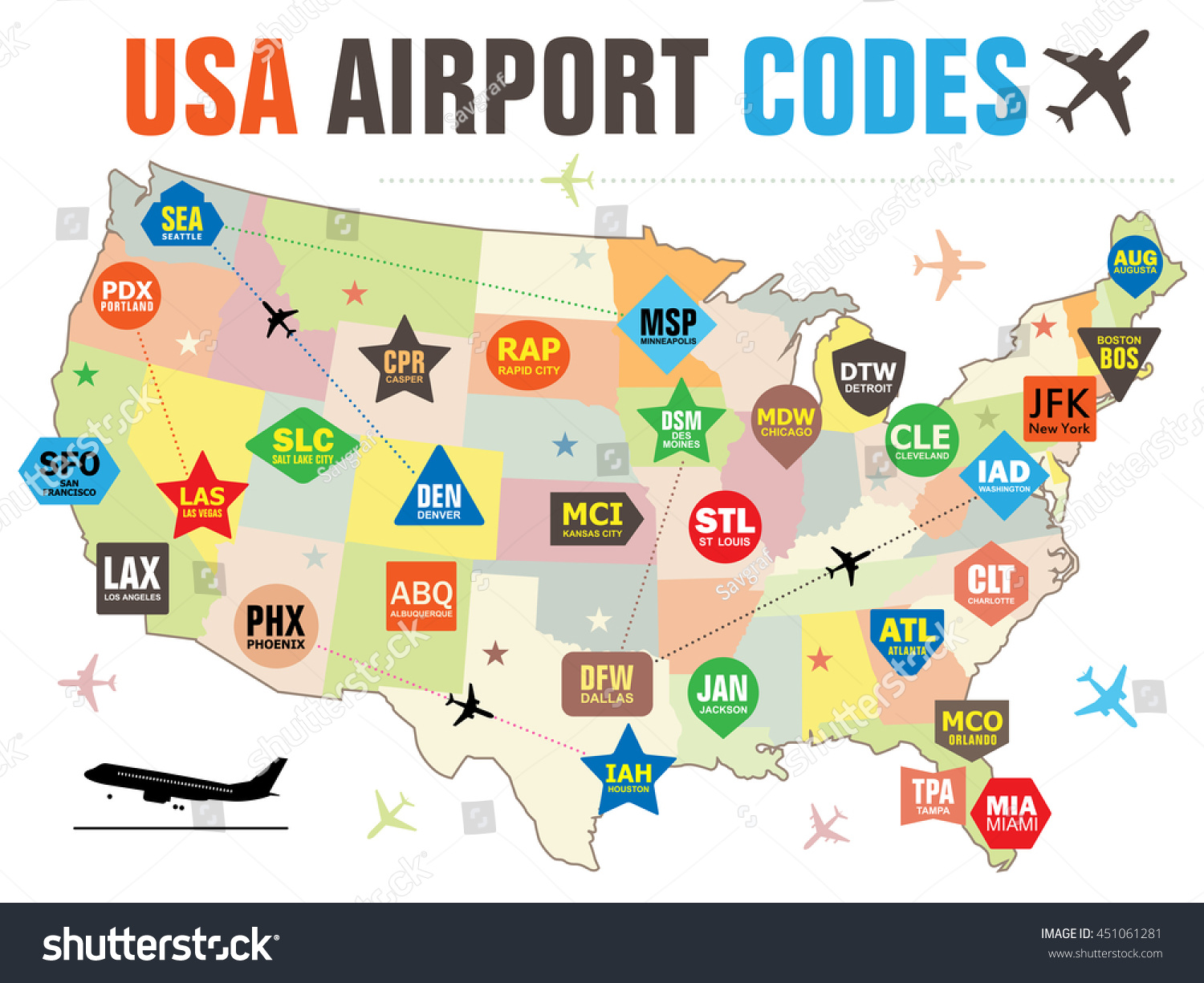 Set Vector Tags Usa Airport Codes Stock Vector - Usa map abbreviations