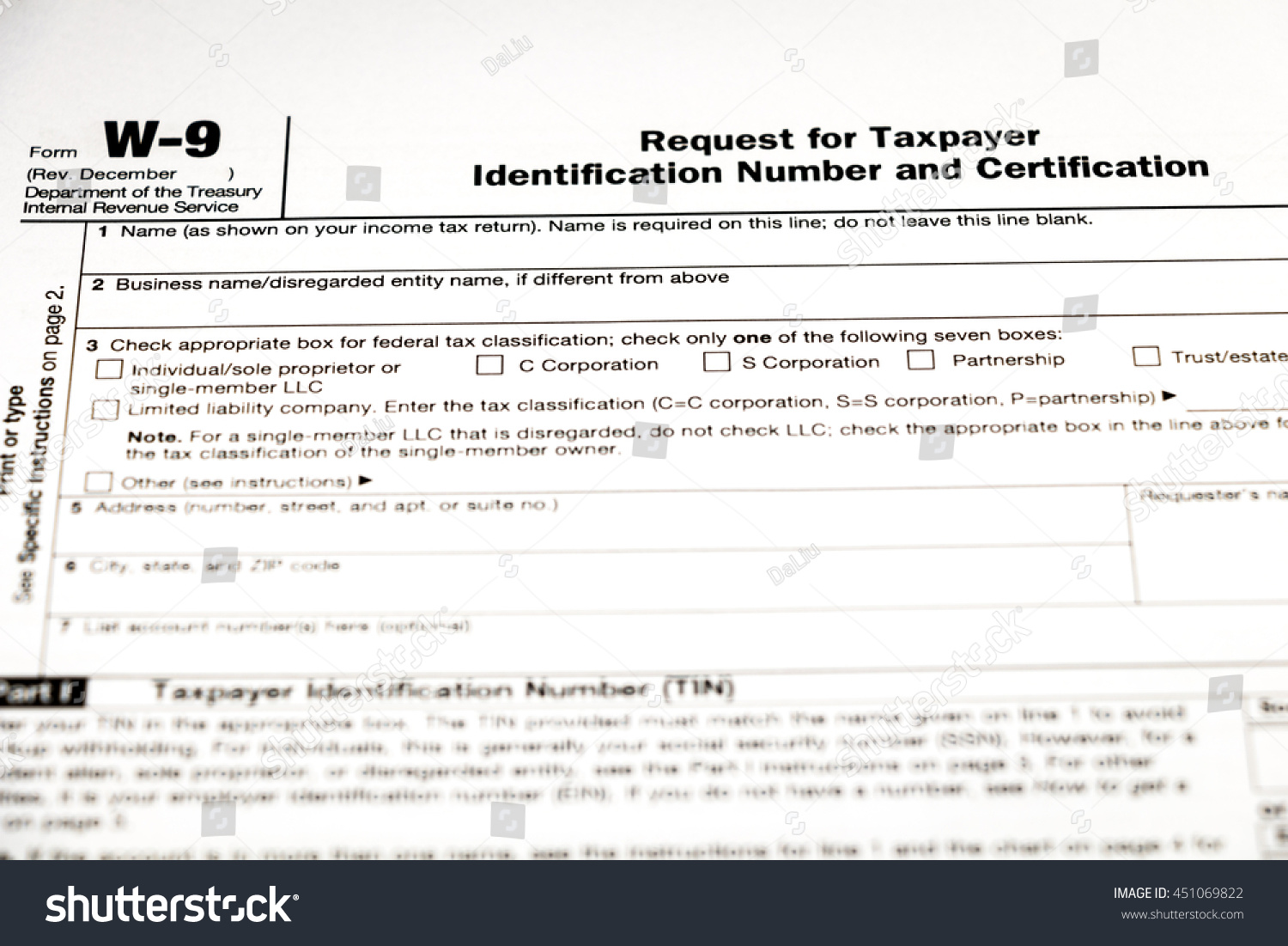 W 9 Tax Form Stock Photo Royalty Free 451069822 Shutterstock