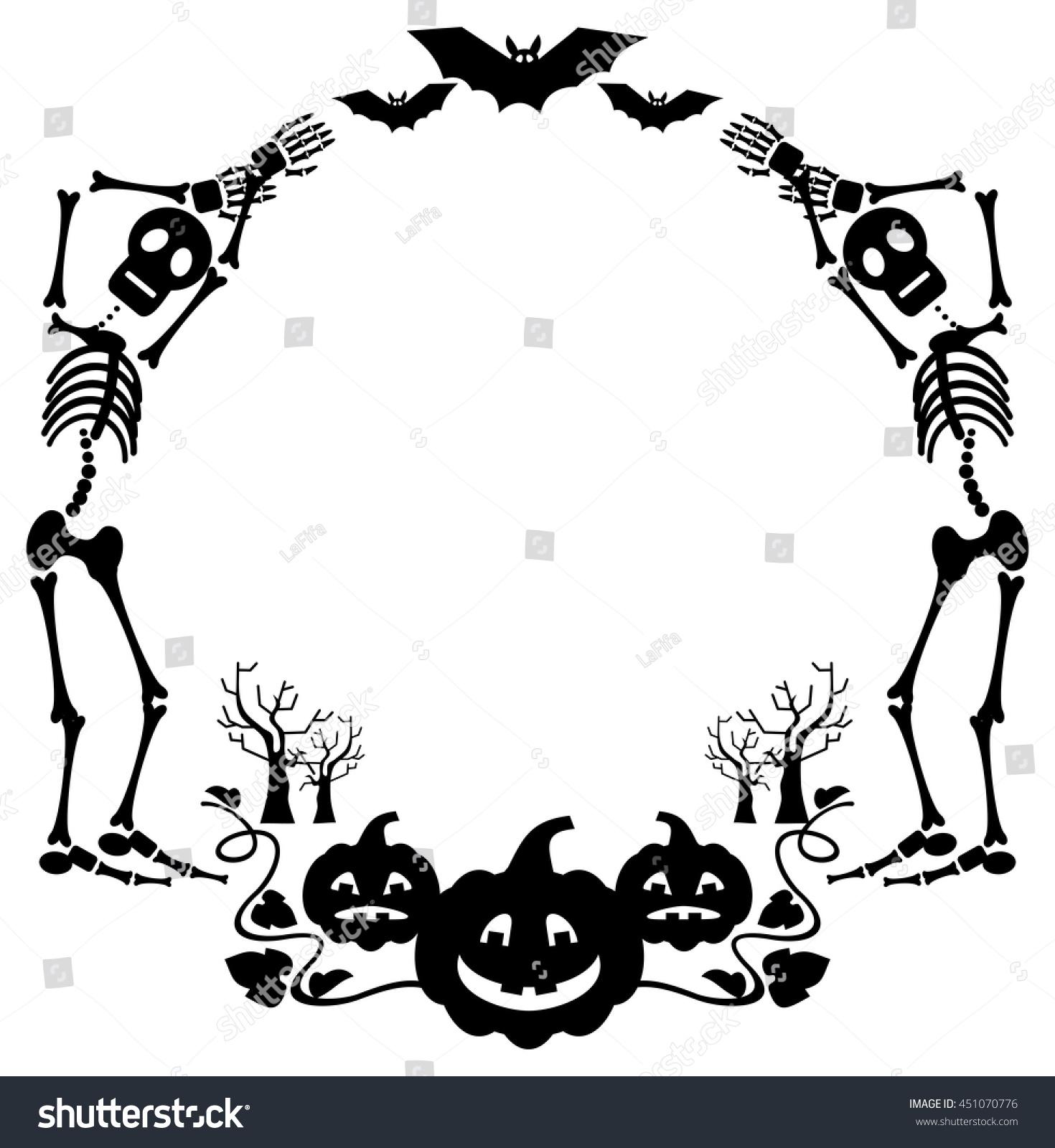 round halloween frame skeleton vector clip stock vector (royalty