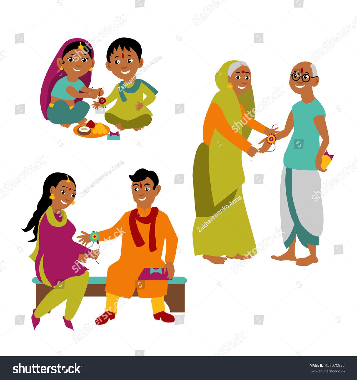 Brother Sister All Ages Celebrate Raksha Stock Vector -3677
