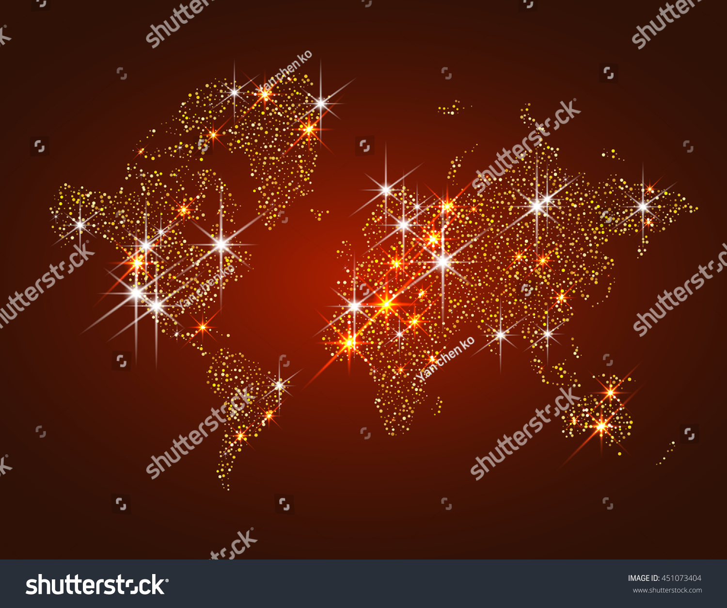 World Map Filled With Gold Glitter And Sparkles, With Plenty Of Space To  Insert Your
