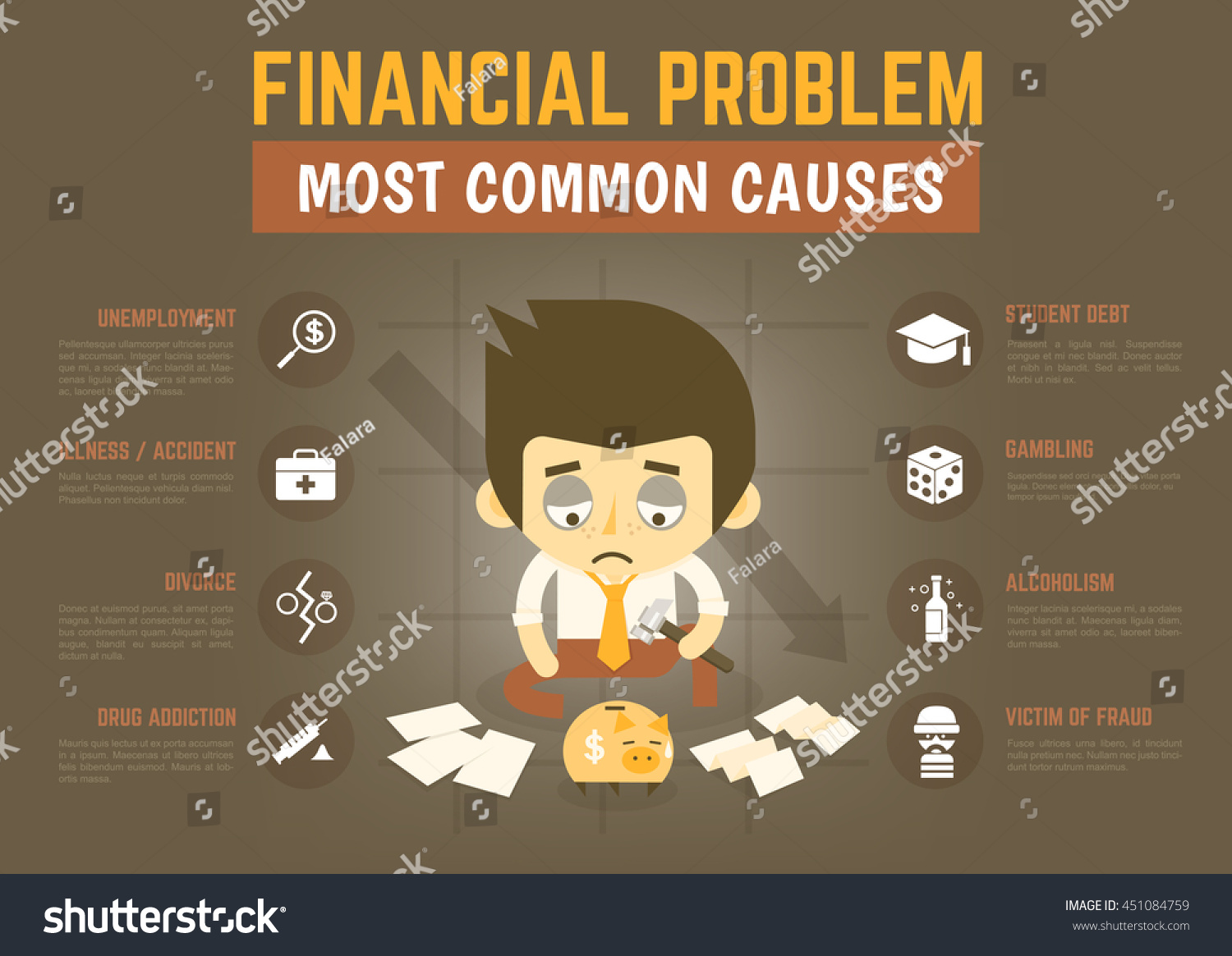 Infographics Cartoon Character About Financial Problem Stock Vector