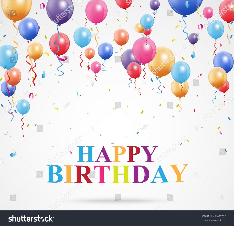 Happy Birthday Greetings Balloon Confetti Stock Illustration