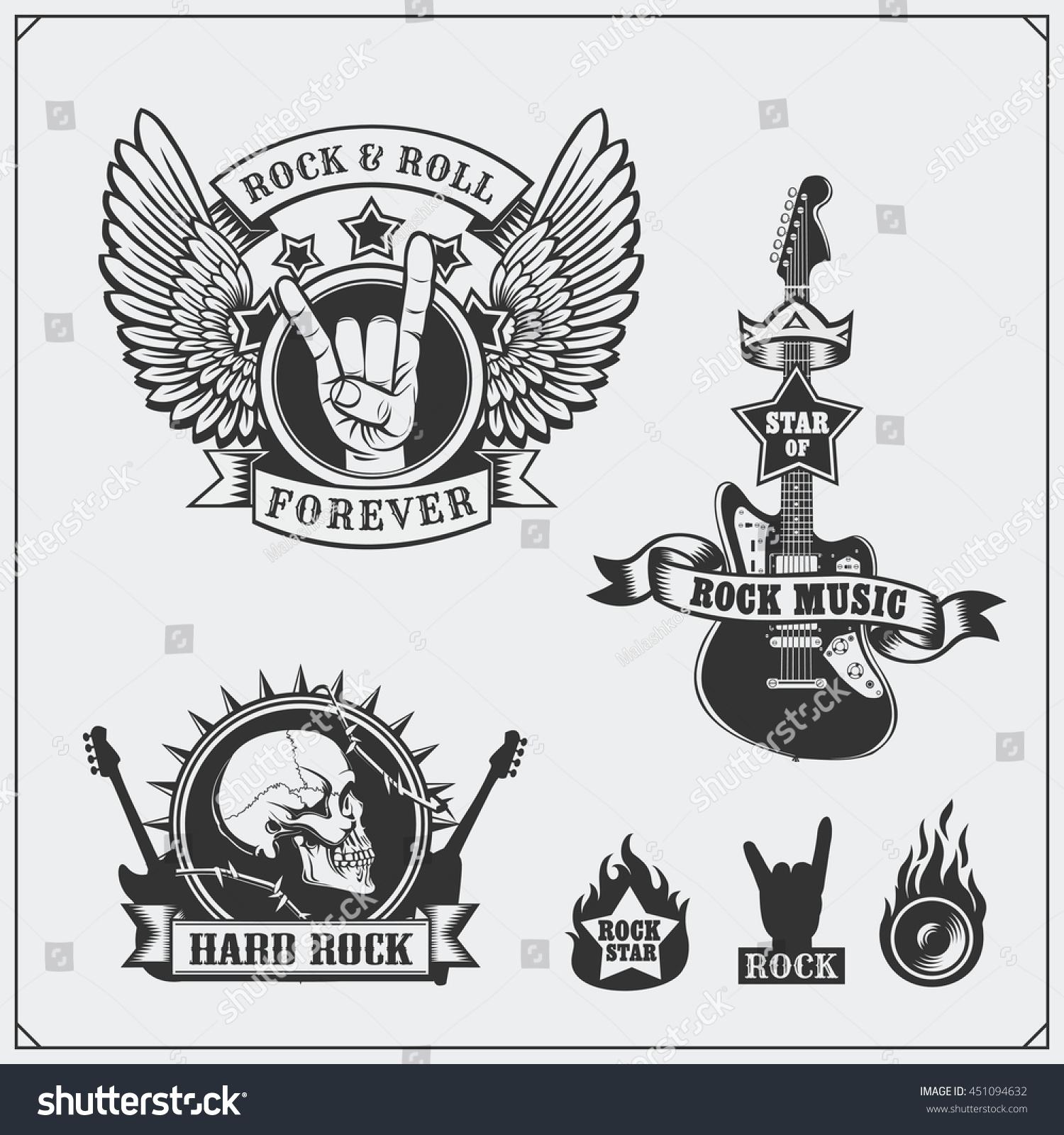 Royalty Free Rocknroll Music Symbols Labels 451094632 Stock