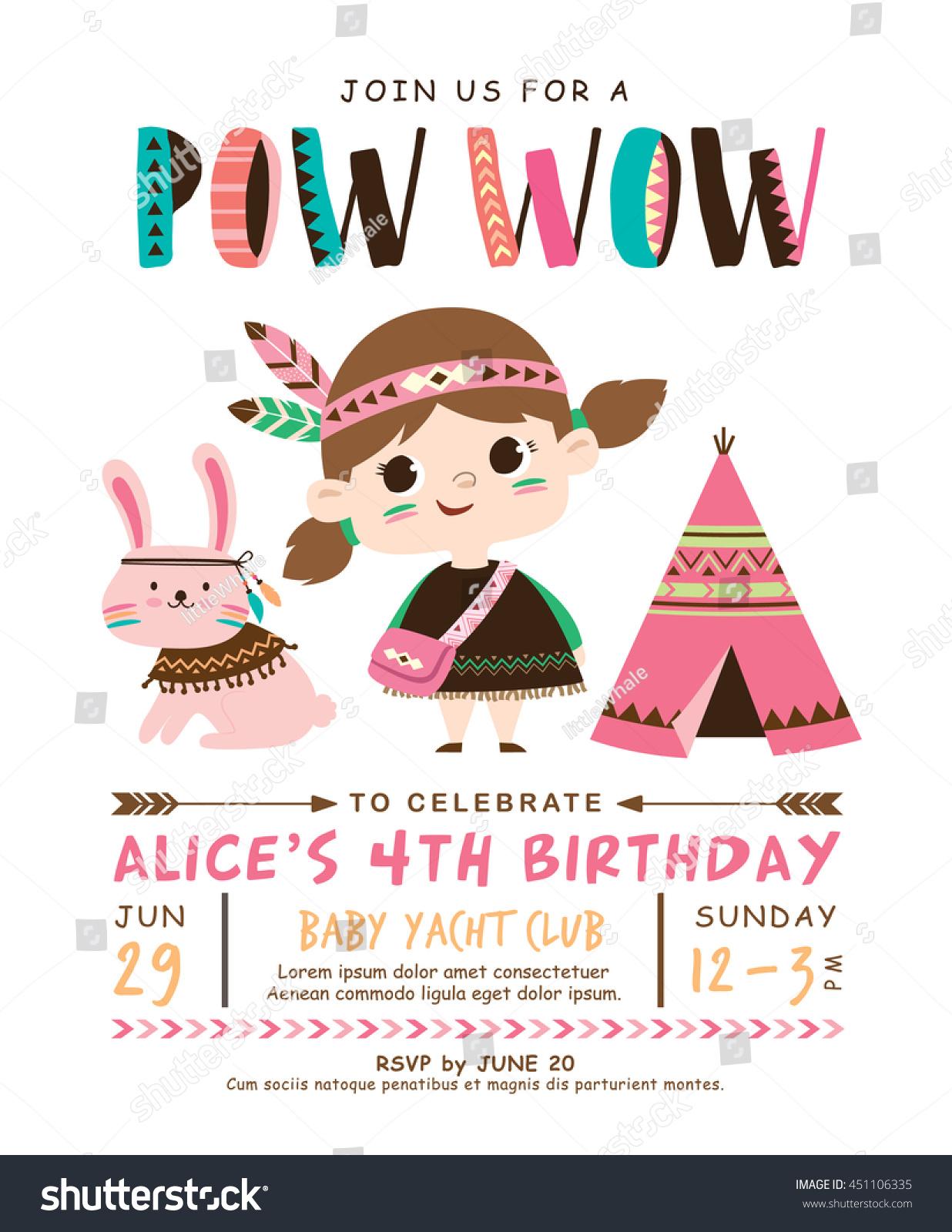 Kids Birthday Invitation Card Cute Little Stock Vector Royalty Free