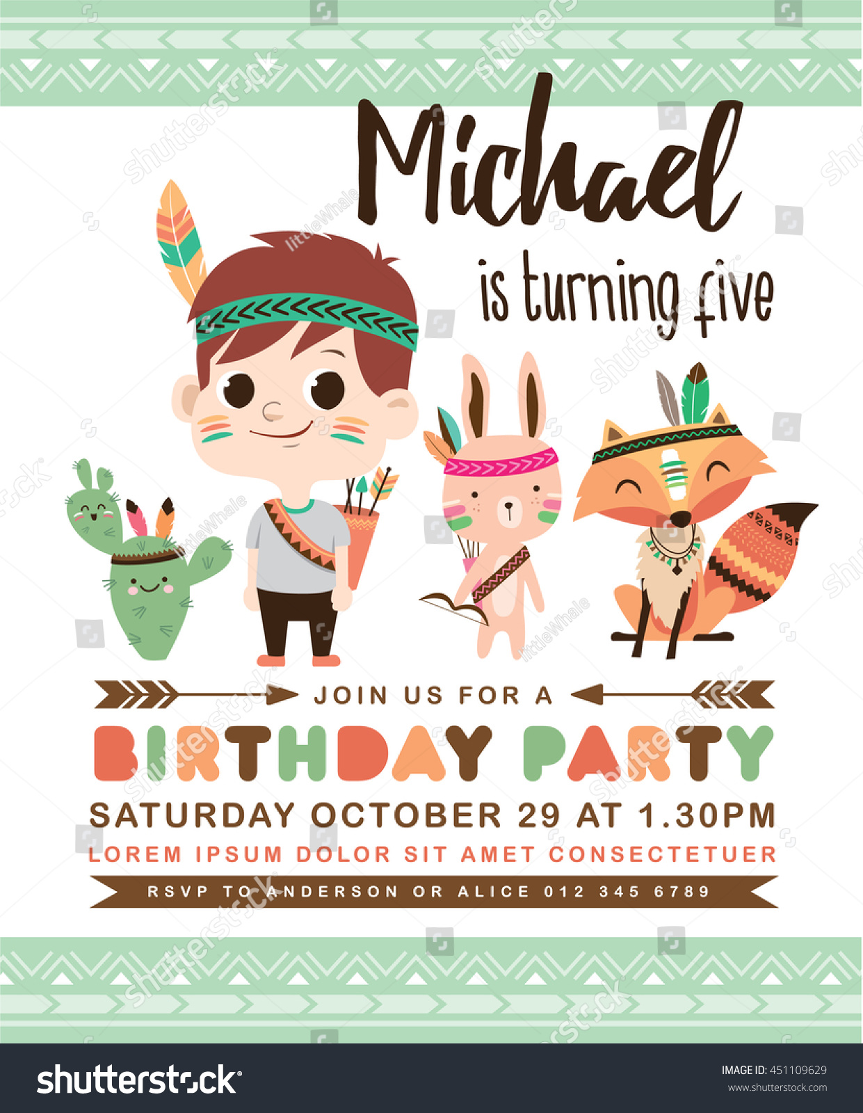 Kids Birthday Party Invitation Card Cute Stock Vector 451109629