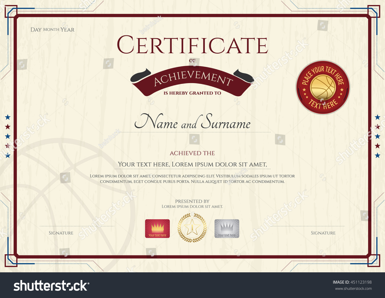 Certificate achievement template wooden texture background stock certificate of achievement template with wooden texture background in basketball sport theme yelopaper Choice Image