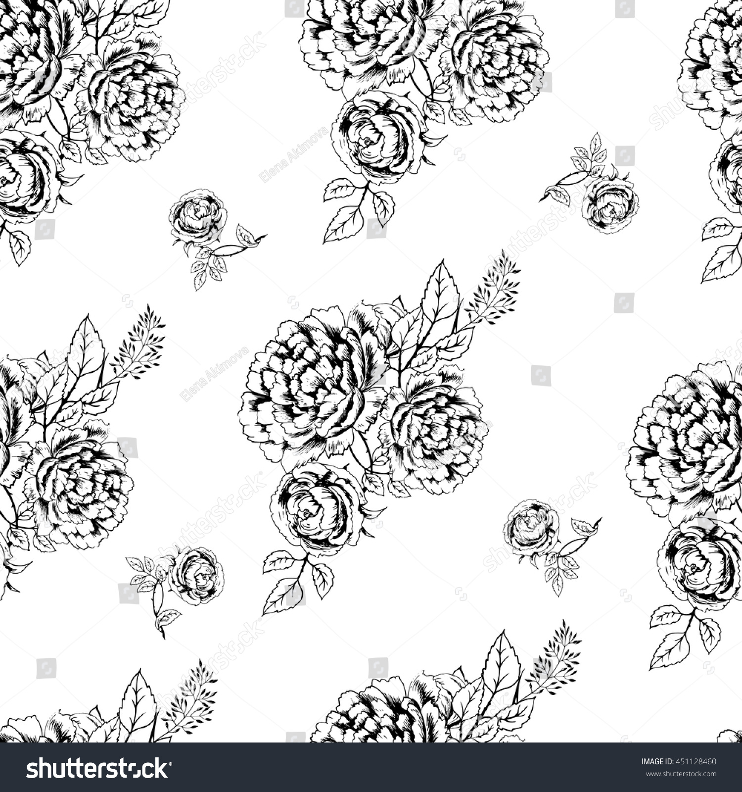 Vintage Floral Seamless Pattern Flowers Roses Stock Vector Royalty