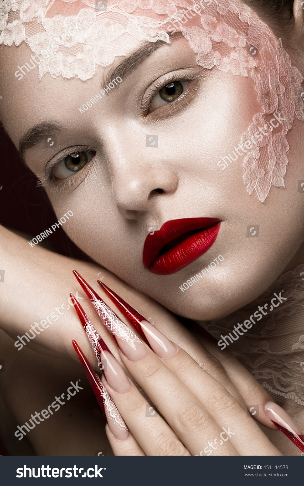 Beautiful Girl Lace Red Lips Long Stock Photo (Royalty Free ...