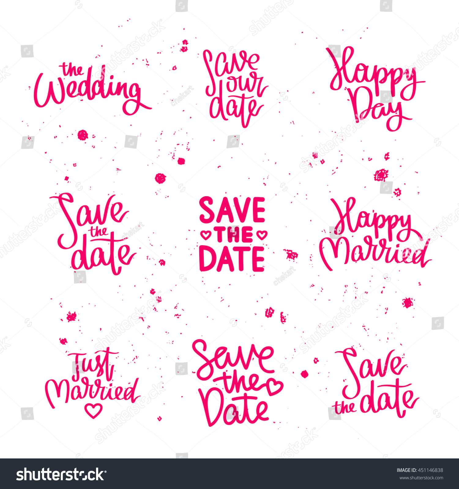 Just Married Quotes Set Wedding Quotes Save Date Just Stock Vector 451146838