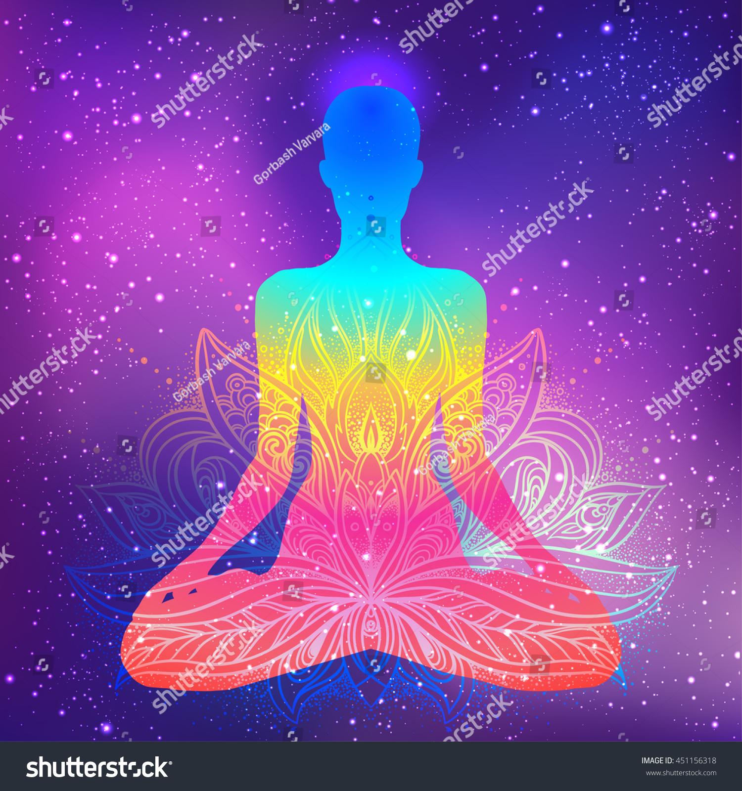 Sitting Buddha Beautifully Detailed Lotus Flower Stock Vector