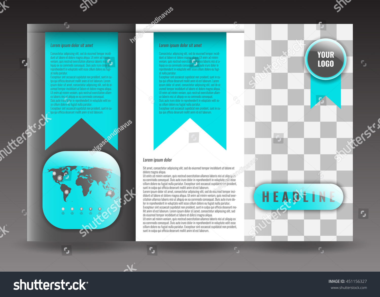 Business Trifold Brochure Template Design Wavy Stock Vector - Tri brochure template
